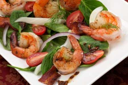 Fennel and Spinach Salad with Shrimp and Balsamic Mustard Vinaigrette -close up