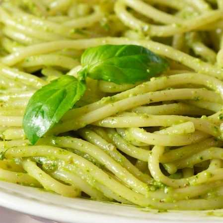 Italian Pasta with Pesto Sauce (close-up)