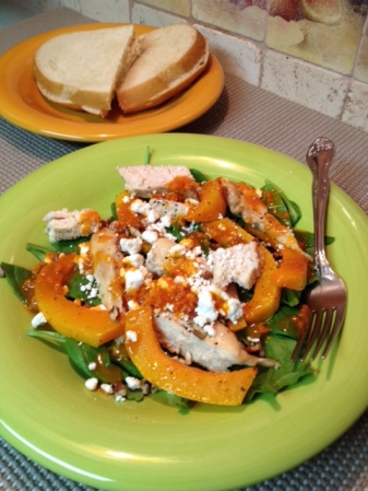 Roasted Chicken and Butternut Squash with Spinach and Goat Cheese Salad