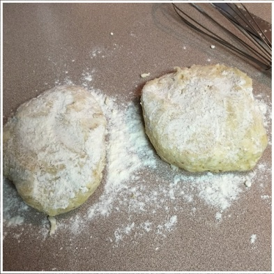 forming pastry dough into two disks