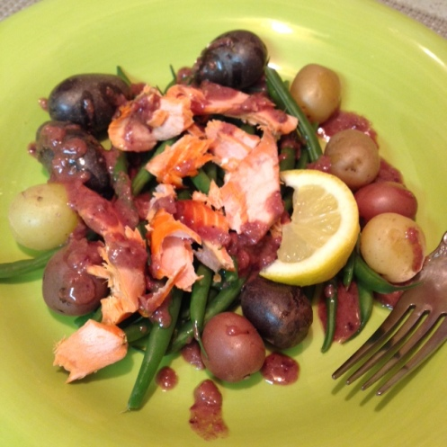 Mediterranean Salmon Salad with Olive Dressing