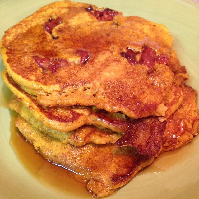 Pumpkin Bacon Pancakes - close up