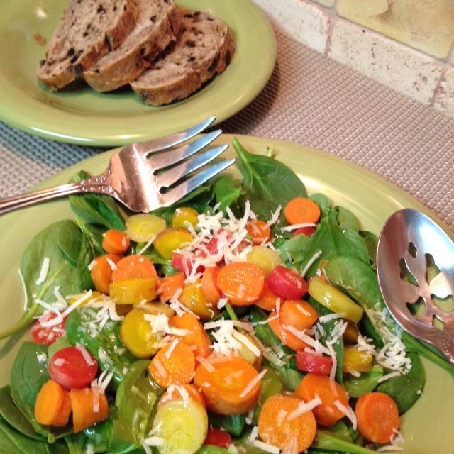 Rainbow Carrots and Spinach Salad
