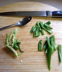 seeding and veining Serrano chilies
