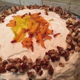 close up of Gluten Free Carrot Cake with Cream Cheese Frosting