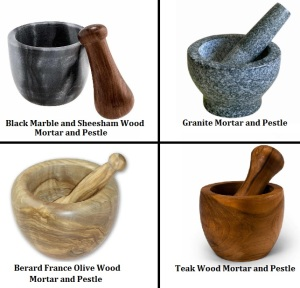 Different Materials to make Mortars and Pestles