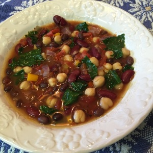 Moroccan Three Bean and Kale Soup