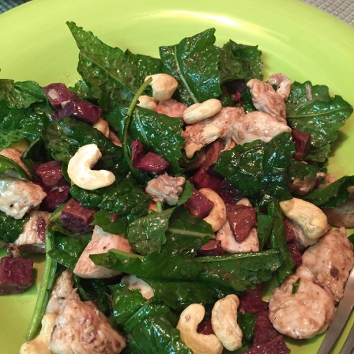 Purple Sweet Potato Cashew and Chicken Salad