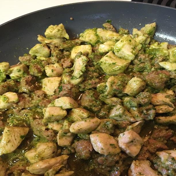 sausage, chicken meat with basil pesto