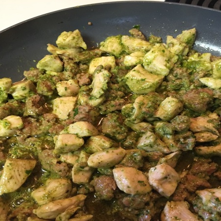 sausage, chicken meat with basil pesto