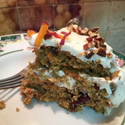 slice of Gluten free Carrot Cake with Cream Cheese Frosting