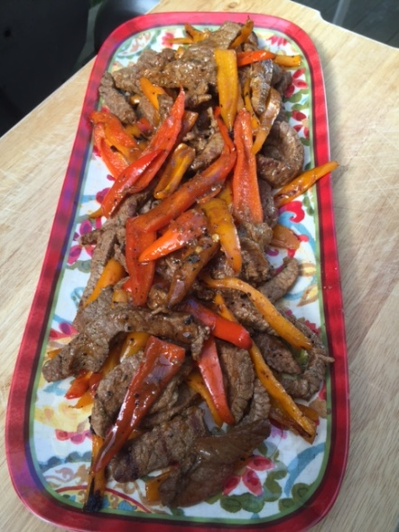 BBQ Beef and Sweet Pepper Fajitas