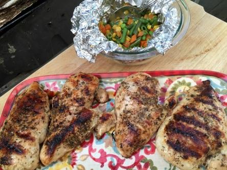 Mediterranean BBQ Chicken and a side of Garlic Lemon Vegetables