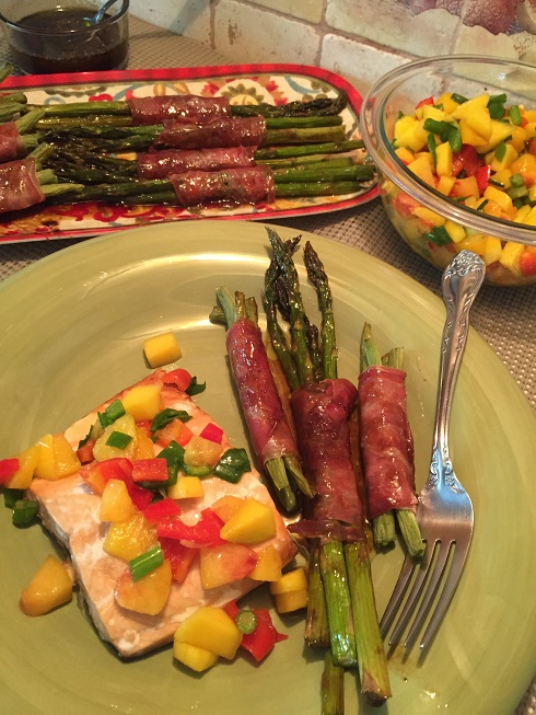 Wild Salmon with Peach Mango Salsa with Prosciutto Wrapped Vegetables