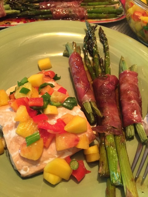 Wild Salmon with Peach Mango Salsa