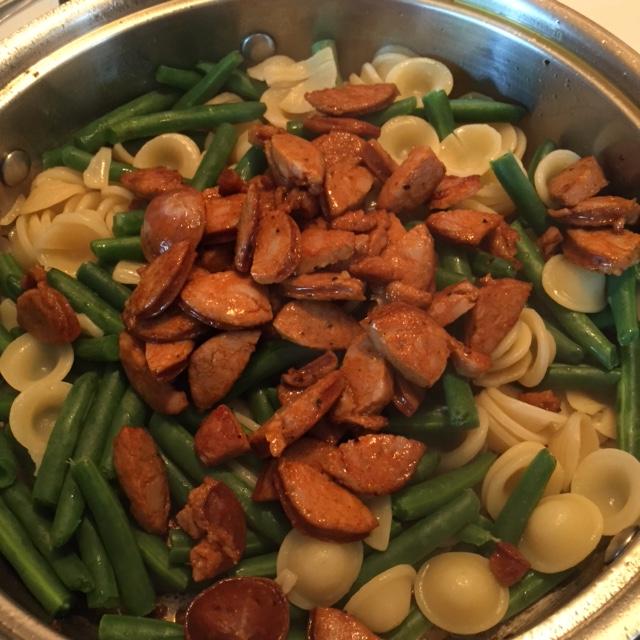 adding Andouille to pasta