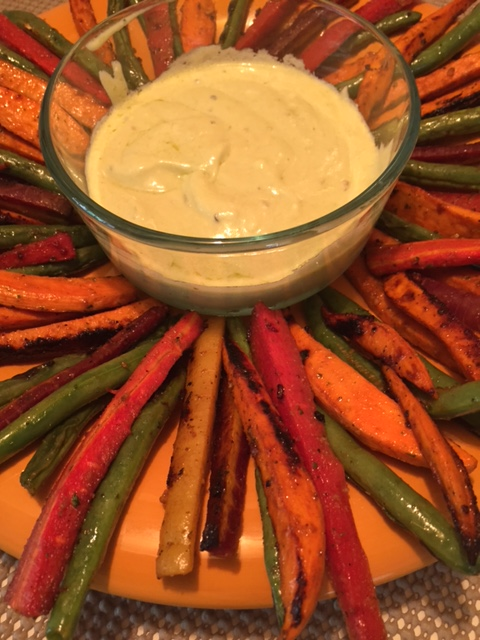 BBQ Garlic Lemon Vegetable Platter -close up
