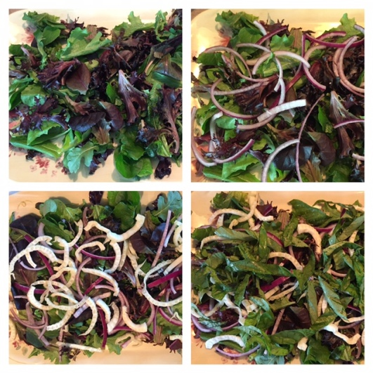 Building the Fresh Basil Raspberry and Goat Cheese Salad