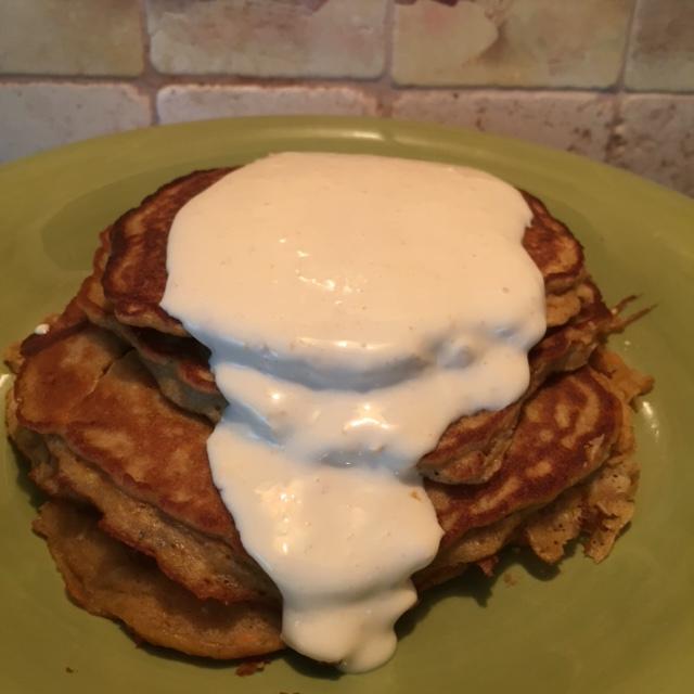 Gluten Free Carrot Cake Pancakes with Orange Maple Mascarpone Sauce