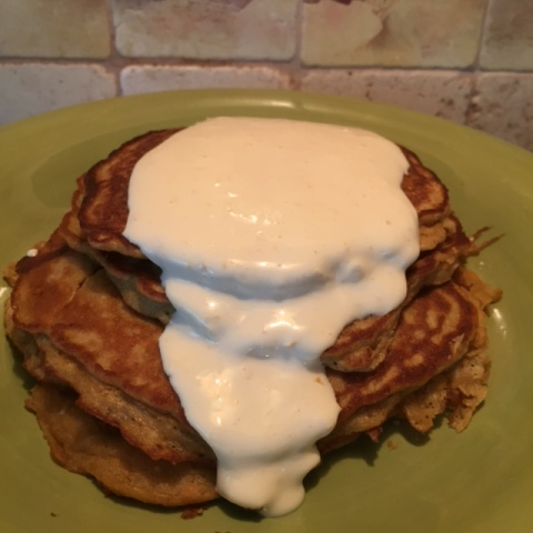 Carrot Cake Pancakes with Orange Maple Mascarpone Sauce