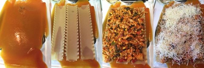 coating bottom of pan with BBQ sauce