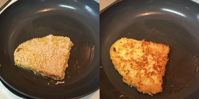 cooking slice of coconut breaded french toast