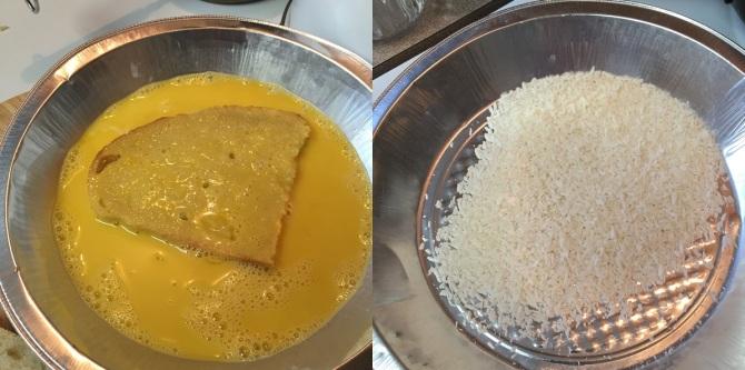 dipping slice of sourdough in egg-coconut milk batter