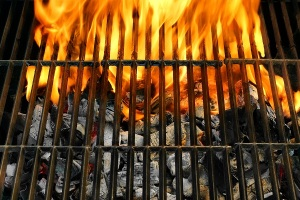 Flaming Empty BBQ Grill