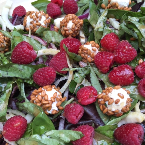 Fresh Basil Raspberry and Goat Cheese Salad - close up