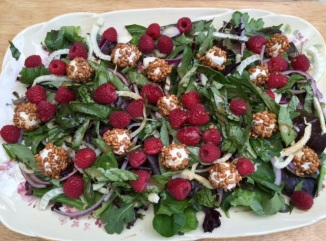 Fresh Basil Raspberry and Goat Cheese Salad