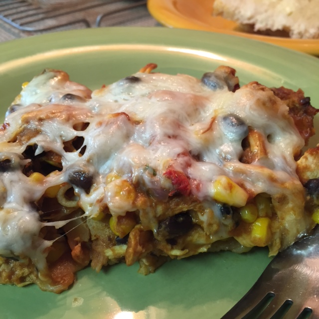 Gluten Free BBQ Chicken Lasagna - detailed close up