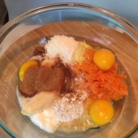 Ingredients for Carrot Cake Pancakes with Orange Maple Mascarpone Sauce