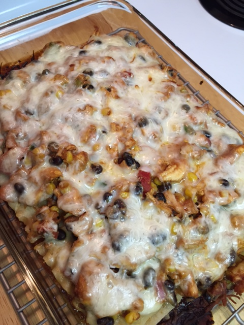just out of the oven - Gluten Free BBQ Chicken Lasagna