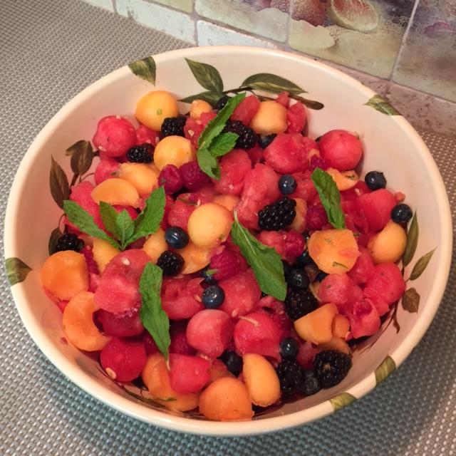 Fresh Fruit Salad With Honey-Mint Lime Dressing Recipe — Dishmaps