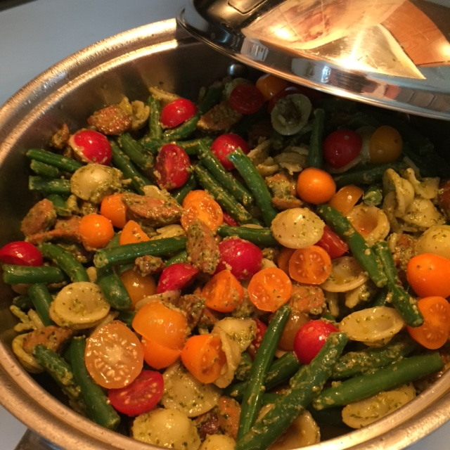 Orecchiette with Andouille Sausage and Pesto