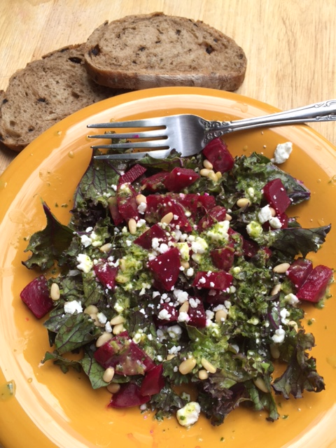 Red Kale Beets and Sweet Cilantro Vinaigrette