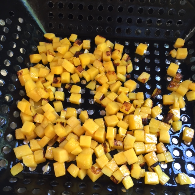 roasting butternut squash on the BBQ