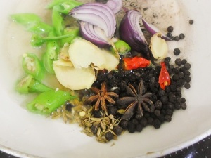 cooked spices for Asian Spicy Poached Chicken