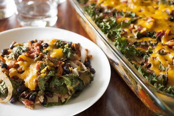 Enchilada Casserole with Kale and Sweet Potatoes