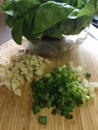 vegetable ingredients for Coconut Chicken Lettuce Wraps