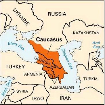 Caucasus Mountains Map Location
