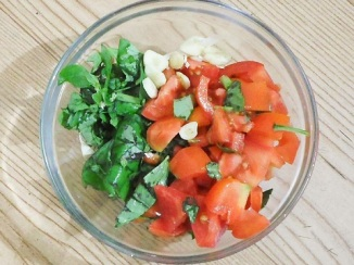 Fresh chopped ingredients for Tomato Basil Chicken