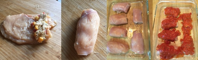 preparing chicken roll ups