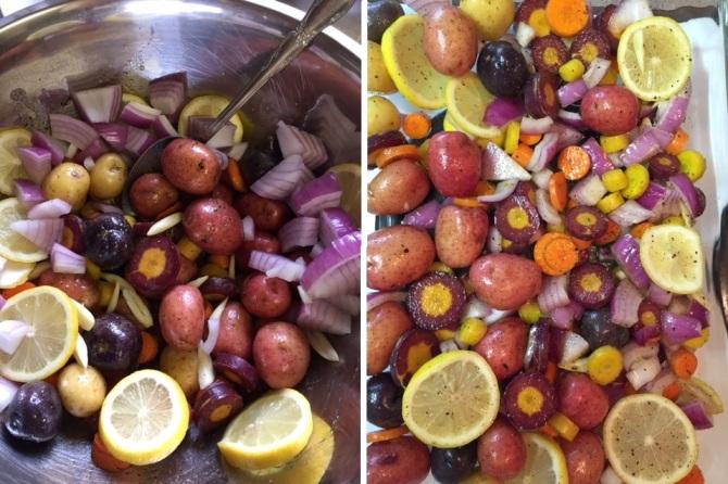 preparing chopped vegetables