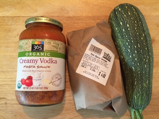principle ingredients for Mexican Squash Pasta with Chorizo Meat Sauce