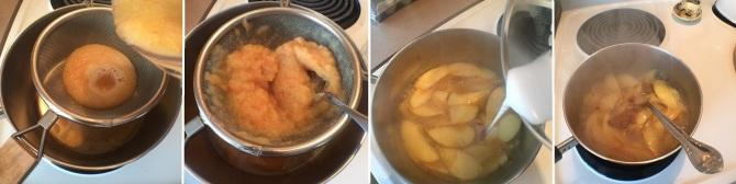 straining apple juice puree