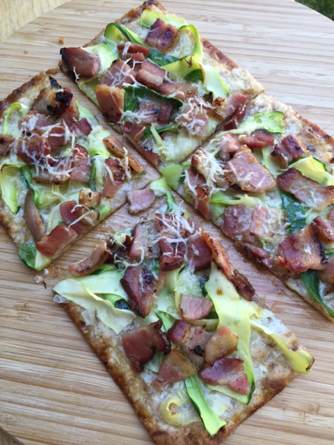 Flatbread with Zucchini Smoked Bacon and Mascarpone Cheese