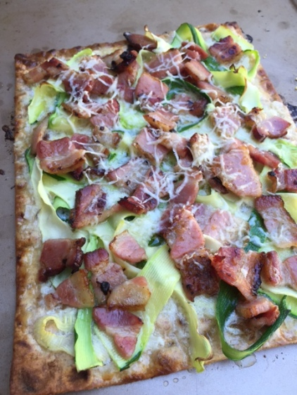 fresh from the oven Flatbread with Zucchini Smoked Bacon and Mascarpone Cheese