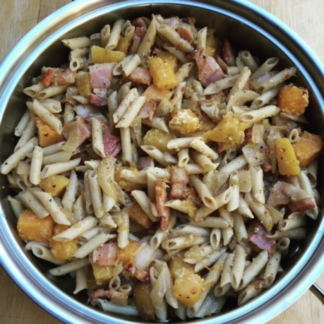 Gluten Free Penne with Roasted Butternut Squash and Smoked Bacon
