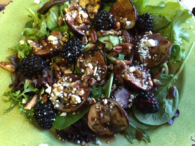 Grilled Figs and Eggplant Salad with Blackberry and Fig Dressing- detailed close up